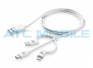 CellularLine kabel + 3 adaptéry Lightning + MicroUSB + microUSB-C