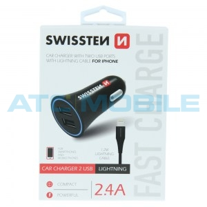 SWISSTEN autonabíječka (12 i 24V) - 2x USB (2,4A) + kabel Lighting